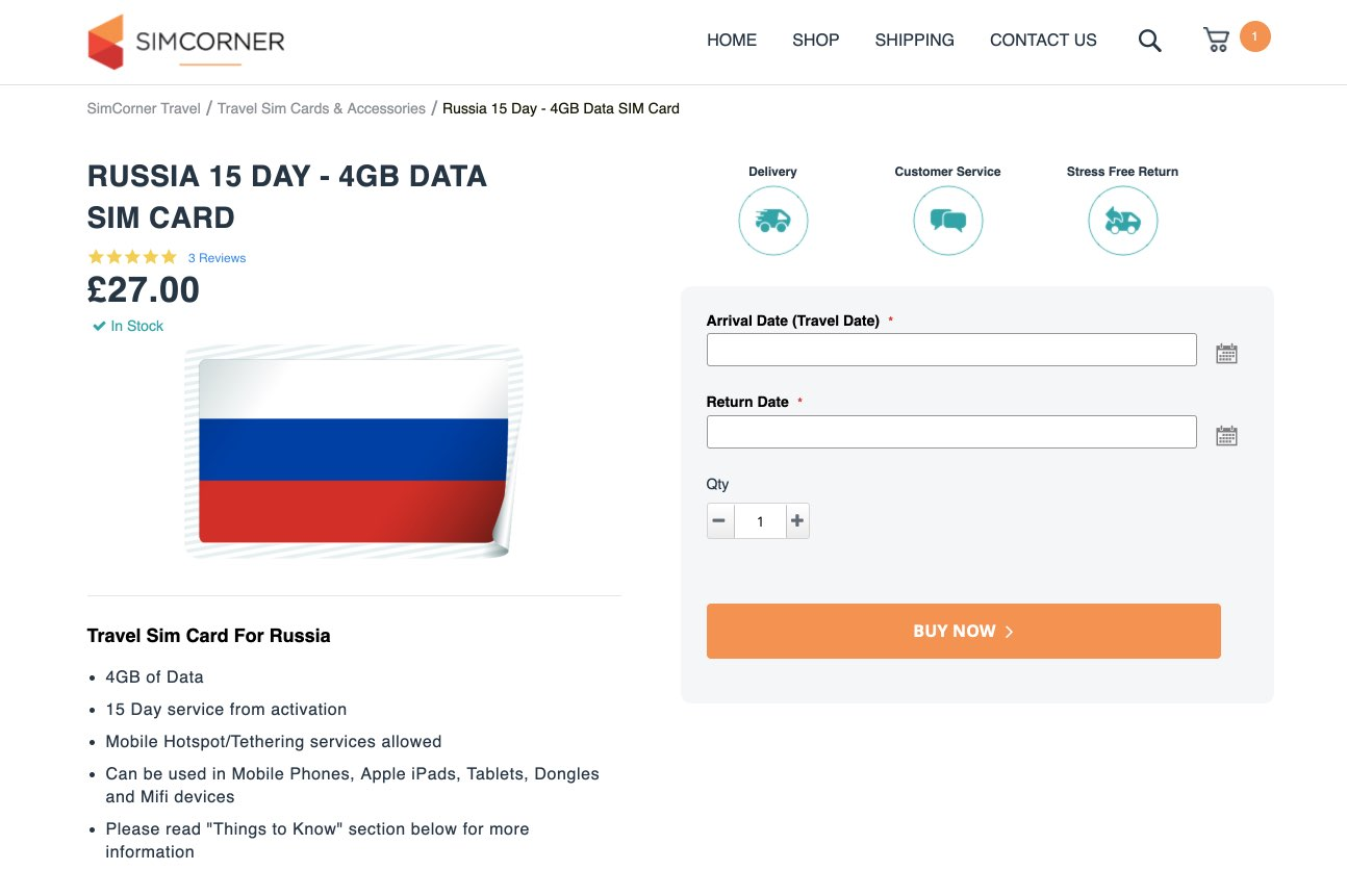 Buy Russian SIM Card online - Russia 15 Day - 4GB Data SIM Card - UK