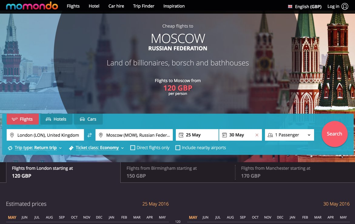 Flights to Moscow, Russian Federation - Compare Moscow flights – momondo  2016-05-