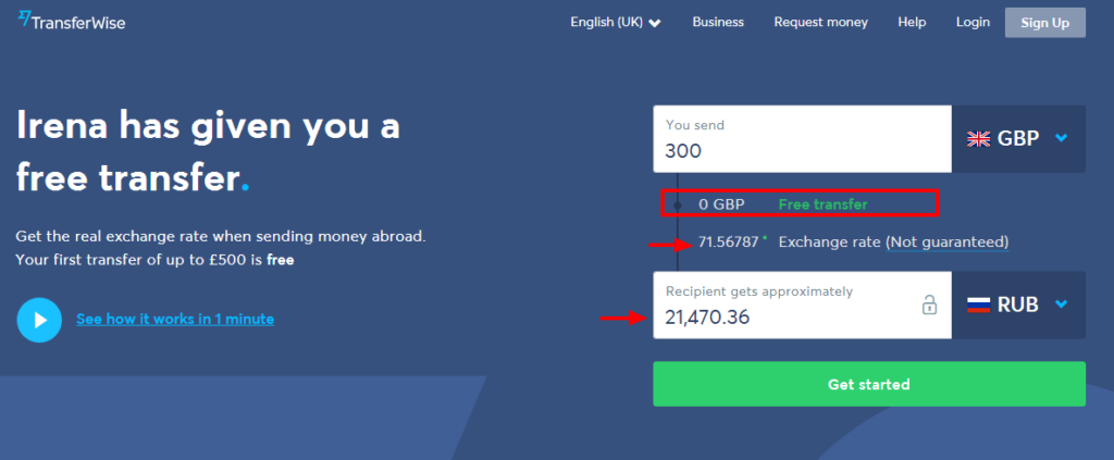 TransferWise Send money free to Russia from United Kingdom