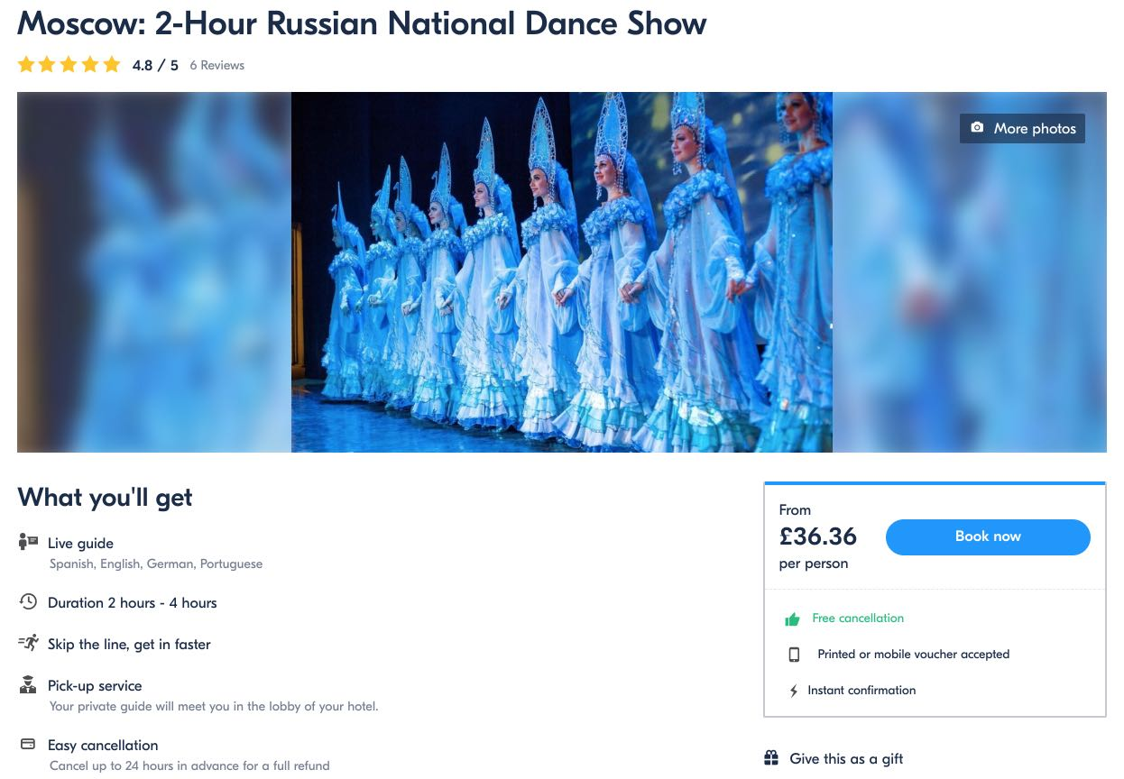 Moscow 2-Hour Russian National Dance Show Kostroma Pounds