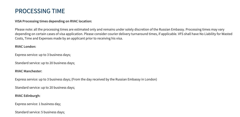 Russia Visa Information in UK - Processing time of Russian Visa