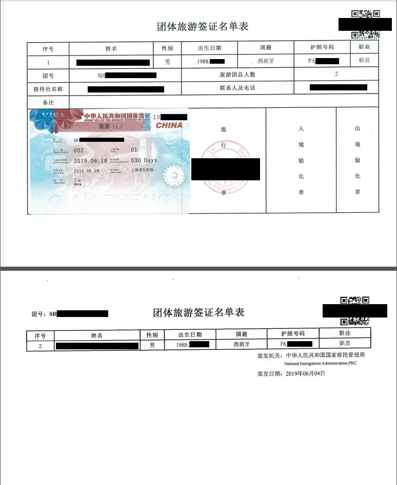 New group Chinese visa sample