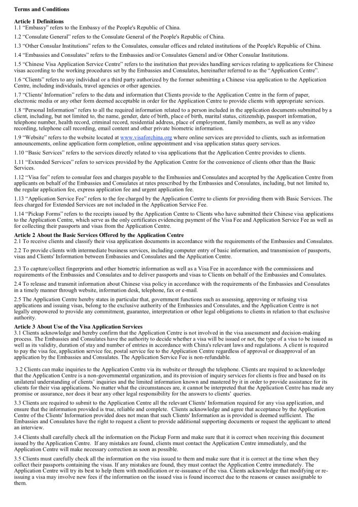 Terms and conditions document - Chinese Visa 1